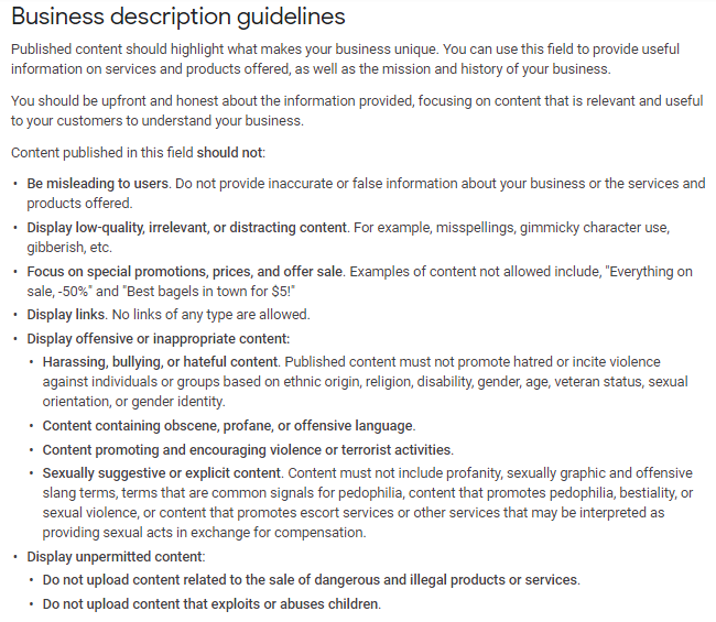 Business Description Guidelines