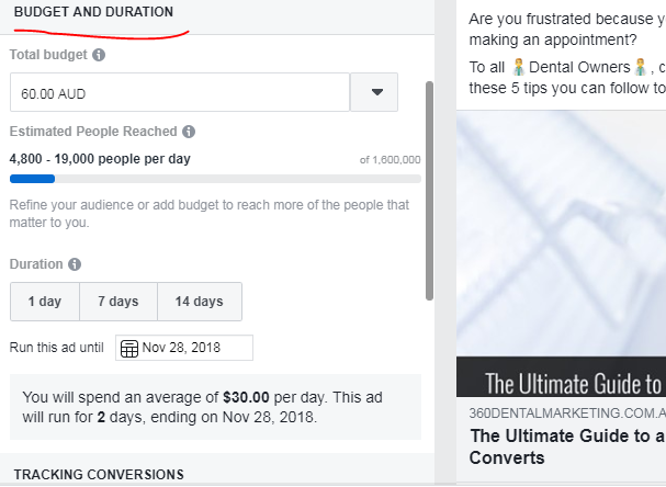 Budget & Duration Setting Facebook Posts