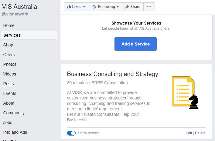 Facebook Page Service Section
